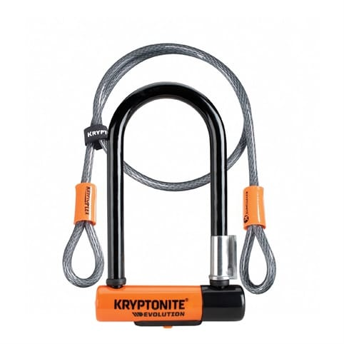 KRYPTONITE EVOLUTION MINI 7 DEAD BOLT LOCK WITH 4 FT KRYPTOFLEX CABLE WITH FLEXFRAME BRACKET