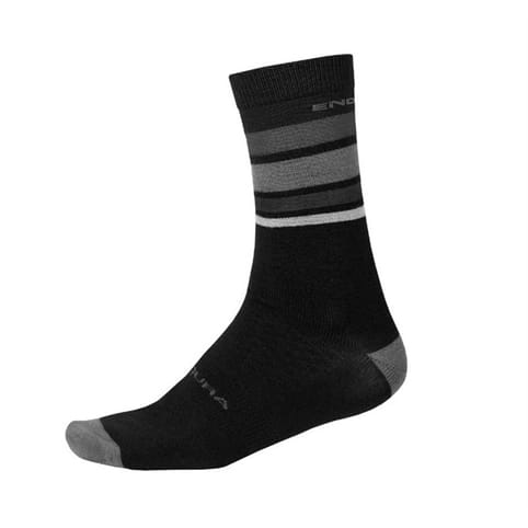 ENDURA BAABAA MERINO MATT BLACK STRIPE SOCK *