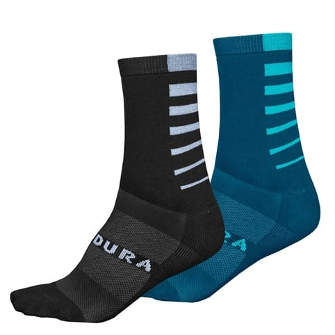 ENDURA COOLMAX STRIPE SOCKS [TWIN PACK] *