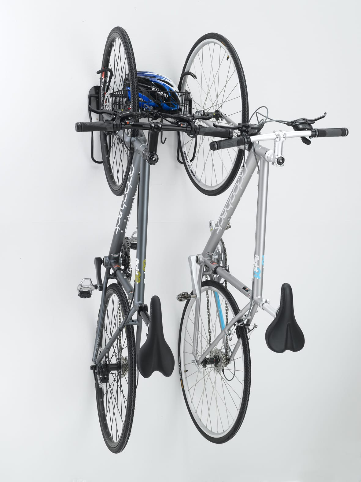 gearup off the wall 2 bike vertical rack all terrain cycles. Black Bedroom Furniture Sets. Home Design Ideas
