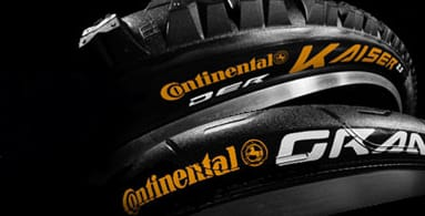 Continental - The market leading German tyre brand with a broad range of tyres for many cycling disciplines. Check out the BlackChili compound, handmade in Germany and applied to tyres such as GP4000 S II, Gatorskin and Der Kaiser Projekt. The new PureGrip range offers superb technical performance at competitive prices.