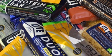 Energy Food - Energy bars are a great way to fuel up on the go. They're loaded with proteins, vitamins and other essentials to resupply your body during an intense workout. Eat one before a big ride, or stash some in a jersey pocket or seat bag.