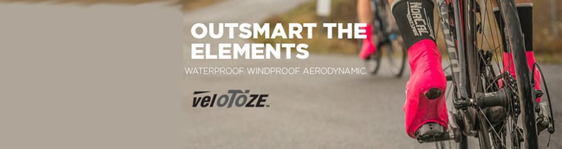 veloToze - veloToze™ shoe covers are made of a flexible, lightweight material that is waterproof, windproof and aerodynamic. Because of the unique, patented design, they don't have vulnerability points like zippers or velcro. They are also light and compact, folding up to the size of a spare tube, which allows them to easily fit in a jersey pocket or saddle bag.