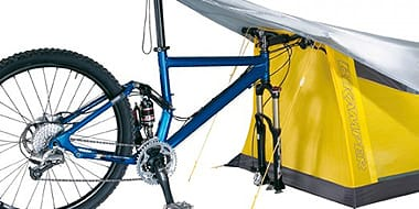 Camping - Forget hauling your tent with you when camping by bicycle; this cool idea builds a pop-up tent right into the front wheel to free up space. A specially-reinforced tyre is designed specifically to hold the tent in place as you ride.